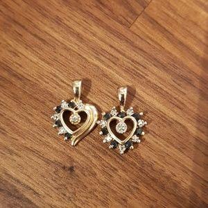 Heart black diamonds pendants mommy and me